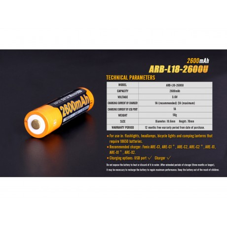 Acumulator Fenix 18650 ARB-L18-2600U 2600mAh